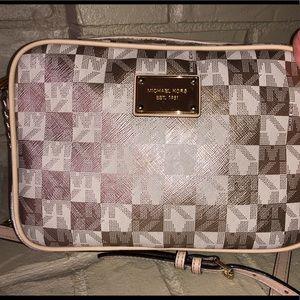 Michael Kors gold and white checkered crossbody